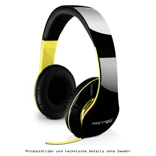 Fantec Kopfhörer schwarz/neon-gelb