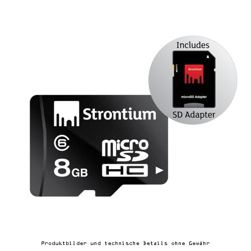 Strontium MicroSD-Karte 8GB +SD-Adapter