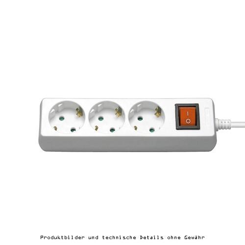 Steckdosenleiste 3fach Schalter weiß 1,5m